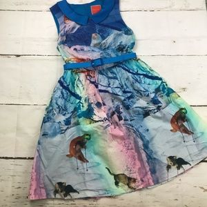 ModCloth Snow Cats Print belted Dress with pockets